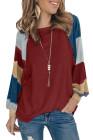 Wine Lantern Sleeve Color Block Pullover Camisetas sueltas