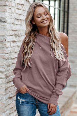 Pink Ribbed Zip Knit Top