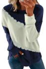 Sweatshirt color block bleu foncé