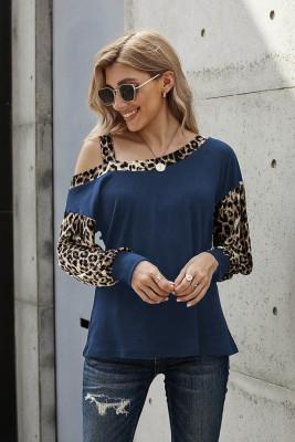 Camicetta a maniche lunghe con cuciture leopardate a spalla blu rugiada