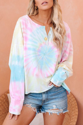 Multi-color Tie Dye Long Sleeve Pullover Sweatshirt