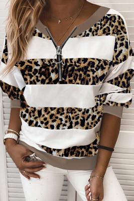 Sweatshirt rayé à imprimé léopard et col rond à demi-glissière