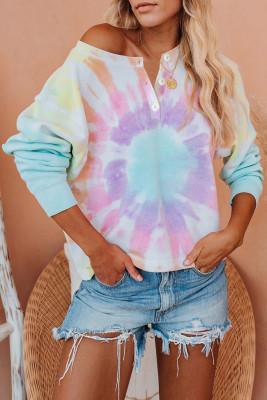 Pullover bleu ciel tie-dye à manches longues