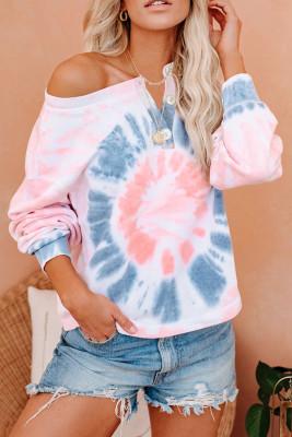 Pink Tie Dye Langarm Pullover Sweatshirt