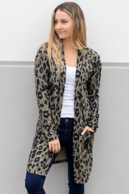 Open Card Pocketed Cardigan mit Leopardenmuster