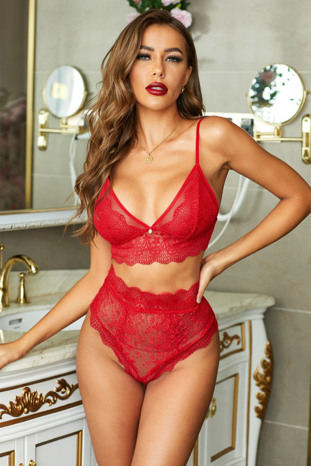 Red Strappy Lace Bralette High Waist Lace Up Panty Set