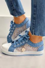 Sepatu Datar Penyambungan Renda Biru Muda