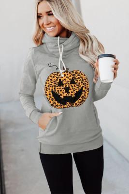 Sudadera gris con capucha de Halloween con estampado de calabaza y cuello vuelto