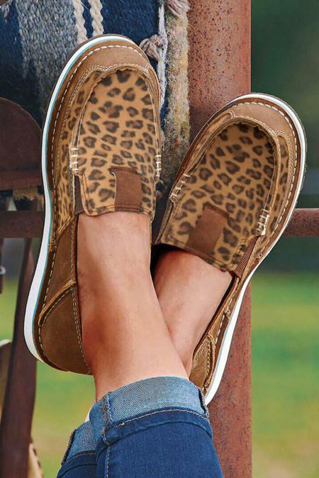 Leopard Spleißen flache Leinwand Turnschuhe