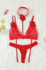 Red Floral Applique Lace Strappy Bralette Set