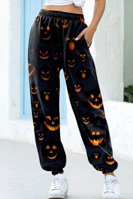 Pantalones deportivos negros con estampado de Jack-O-lantern de Halloween
