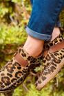 Leopardí přezka popruh ručně šité tenisky s kulatou špičkou