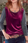 Red Retro Velvet Stitching Color Block Long Sleeve Top