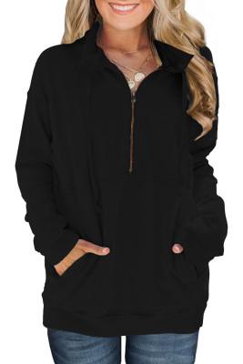 Baumwolle Pocketed Half Zip Pullover Schwarz Sweatshirt