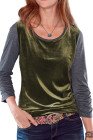 Green Retro Velvet Stitching Color Block Long Sleeve Top