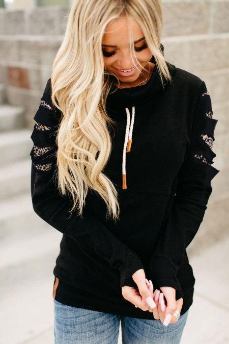 Leopard Detail High Neck Schwarzes Sweatshirt