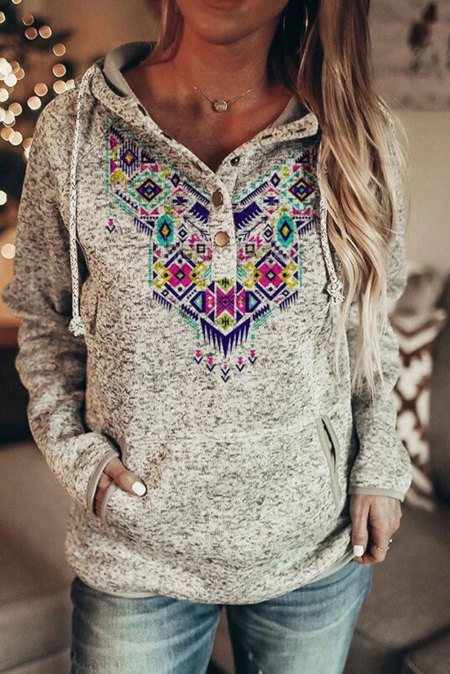 Rose Ethnic Tribal Print Pullover Hoodie with Pocket