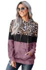 Sweat à capuche rose léopard tie & dye color block