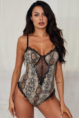 Spaghetti Strap Backless Snake Printed Teddy