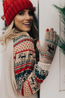Rękawiczki z dzianiny w świąteczne renifery w kolorze khaki