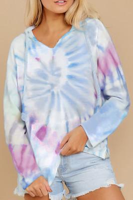Sweat à capuche bleu ciel avec cordon de serrage et imprimé tie-dye