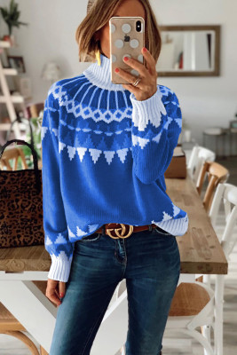 Blue High Neck Printed Knit Sweater