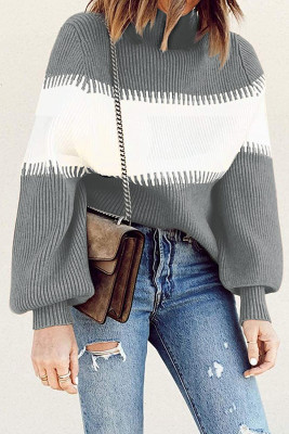 Grauer Farbblock-Pullover mit hohem Halsausschnitt