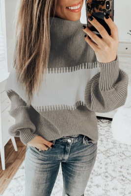 Khaki Color Block High Neck Pullover Sweater