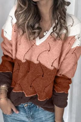 Suéter de punto texturizado color block con cuello en V blanco