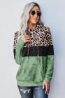 Pull à capuche vert léopard tie-dye color block