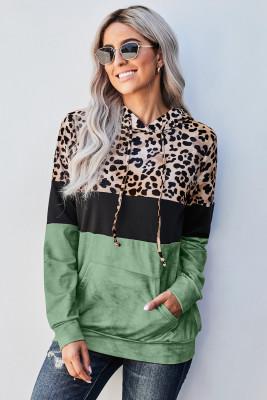 Felpa con cappuccio colorblock color block leopardato verde