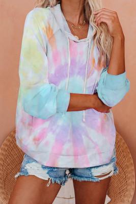 Sudadera con capucha de punto con efecto tie dye multicolor