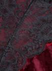 Body sexy con costuras de malla de encaje de terciopelo rojo