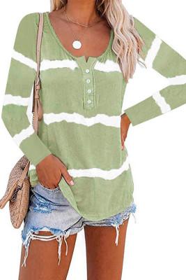 Зеленый топ с длинными рукавами на пуговицах с принтом тай-дай