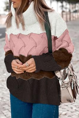 Pink Turtle Neck Farbblock Fluffy Twist Sweater