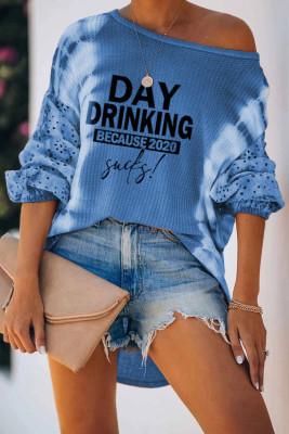 Blusa de manga larga con linterna con efecto tie dye y estampado de letras azul cielo
