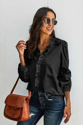 Black Long Sleeves Ruffles Blouse