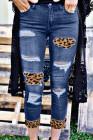 Parches de leopardo desgastados Vaqueros pitillo azules
