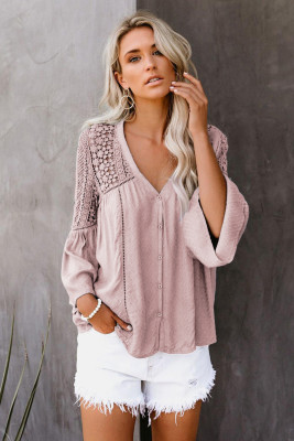 Розовая вязанная крючком блуза The Du Jour