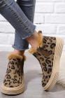 Botas peludas com estampa de leopardo