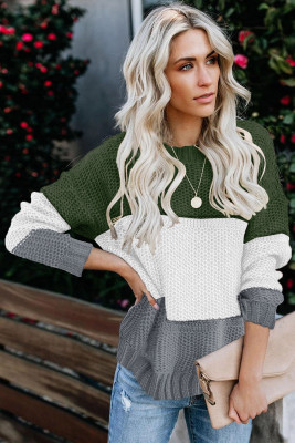Green Color Block Netted Texture Pullover Sweater