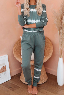 Army Green Tie-Dye Stripes Pullover Top und Pants Lounge Set