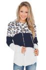Pull à capuche et cordon de serrage à motif léopard blanc
