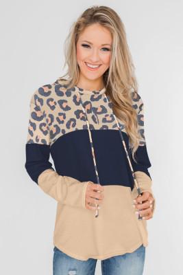 Leopard Color Block Drawstring Hoodie