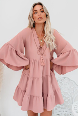 Pink Cotton Tiered Babydoll Tunic Dress
