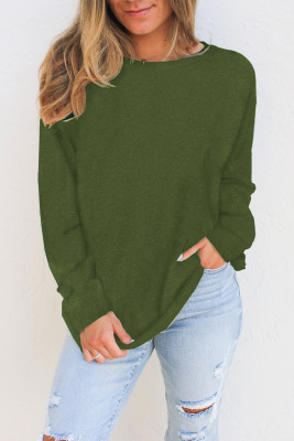 Green Plain Knit Long Sleeve Top