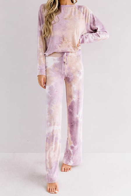 Purple Tie-dye Print Loungewear Set