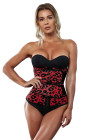 Red Leopard Printing Compression Double Strap Neoprene Waist Trainer