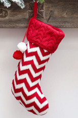 Red Pompom Christmas Hanging Decor Sock