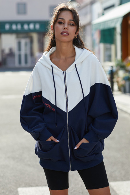 Navy Oversized Sporty Colorblock Hooded Coat with Pockets